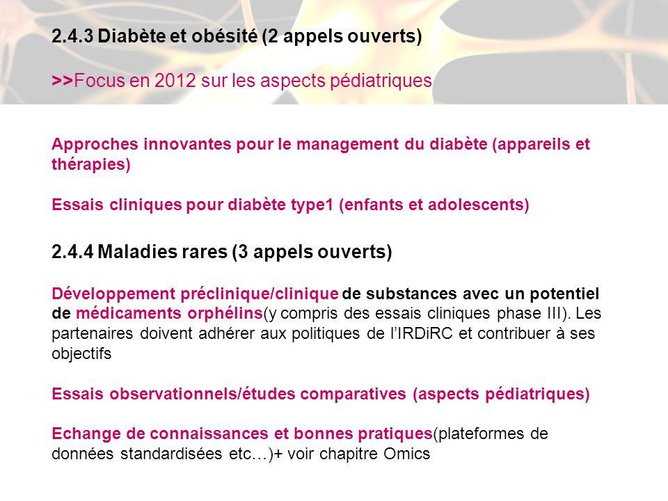 2.4.3 Diabète et obésité (2 appels ouverts)