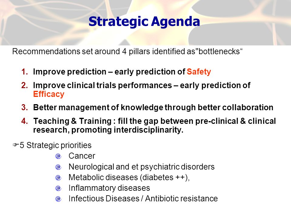 Strategic Agenda Recommendations set around 4 pillars identified as bottlenecks Improve prediction – early prediction of Safety.