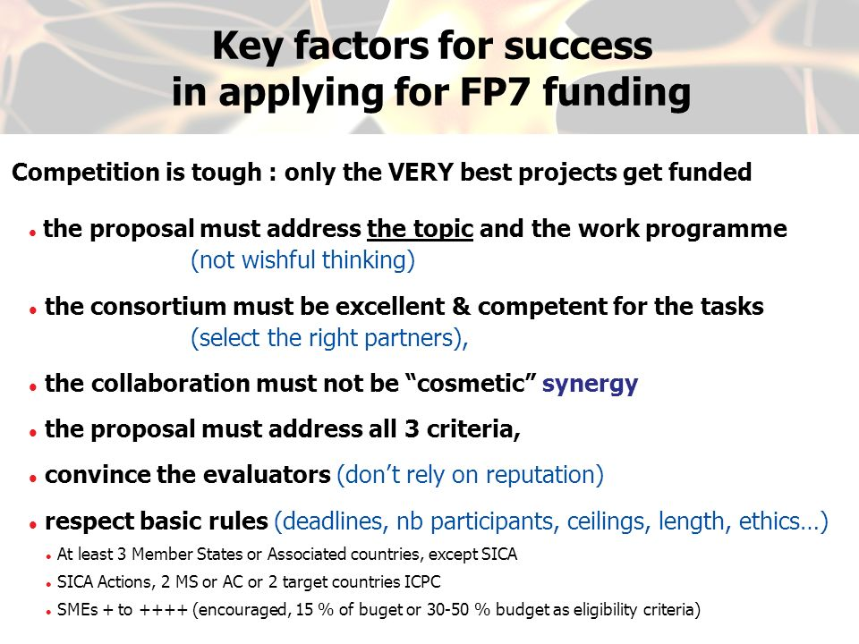 Key factors for success in applying for FP7 funding