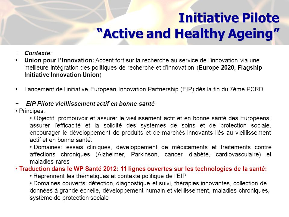 Initiative Pilote Active and Healthy Ageing