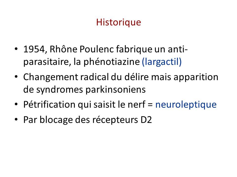 Historique 1954, Rhône Poulenc fabrique un anti-parasitaire, la phénotiazine (largactil)