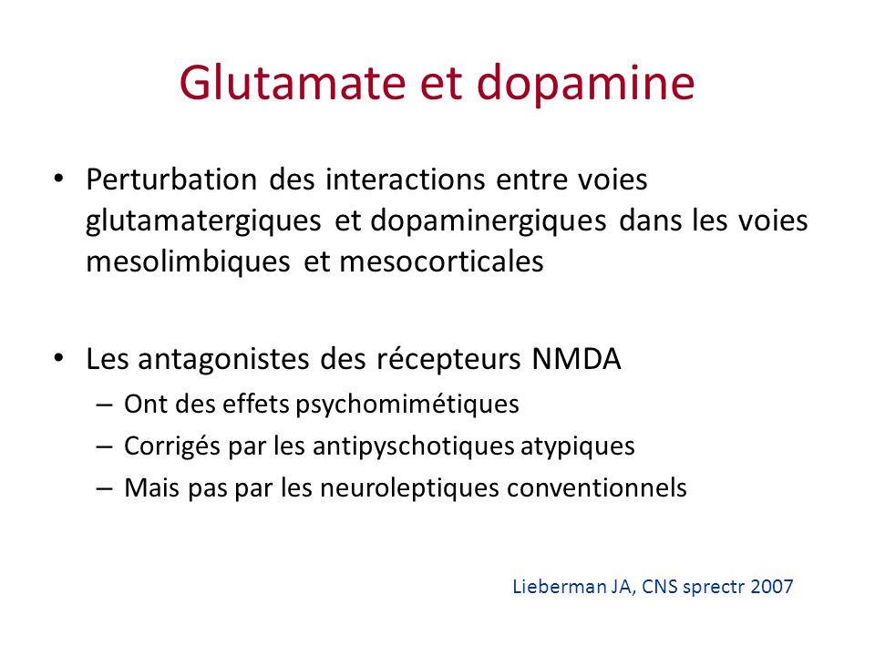 Glutamate et dopamine Perturbation des interactions entre voies glutamatergiques et dopaminergiques dans les voies mesolimbiques et mesocorticales.