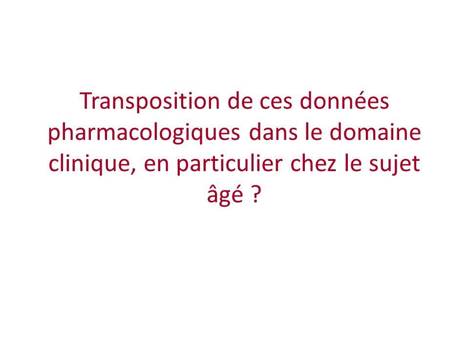 Transposition de ces données pharmacologiques dans le domaine clinique, en particulier chez le sujet âgé