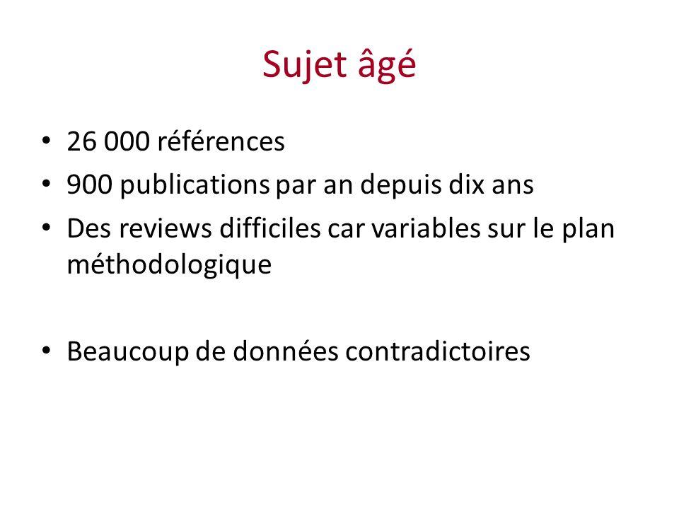 Sujet âgé 26 000 références 900 publications par an depuis dix ans