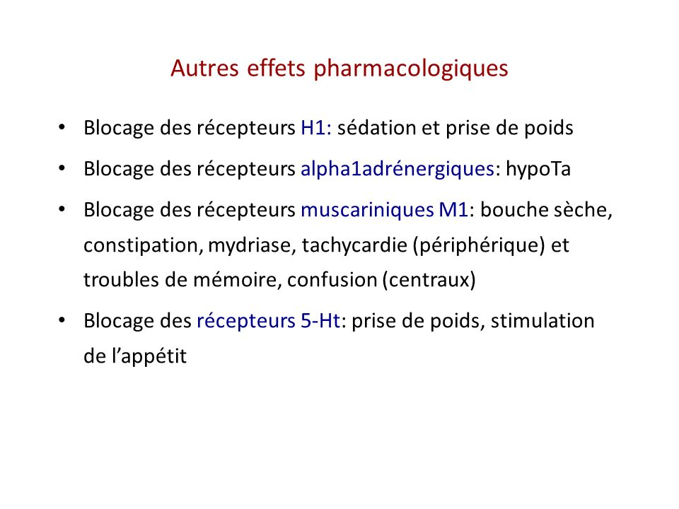 Autres effets pharmacologiques