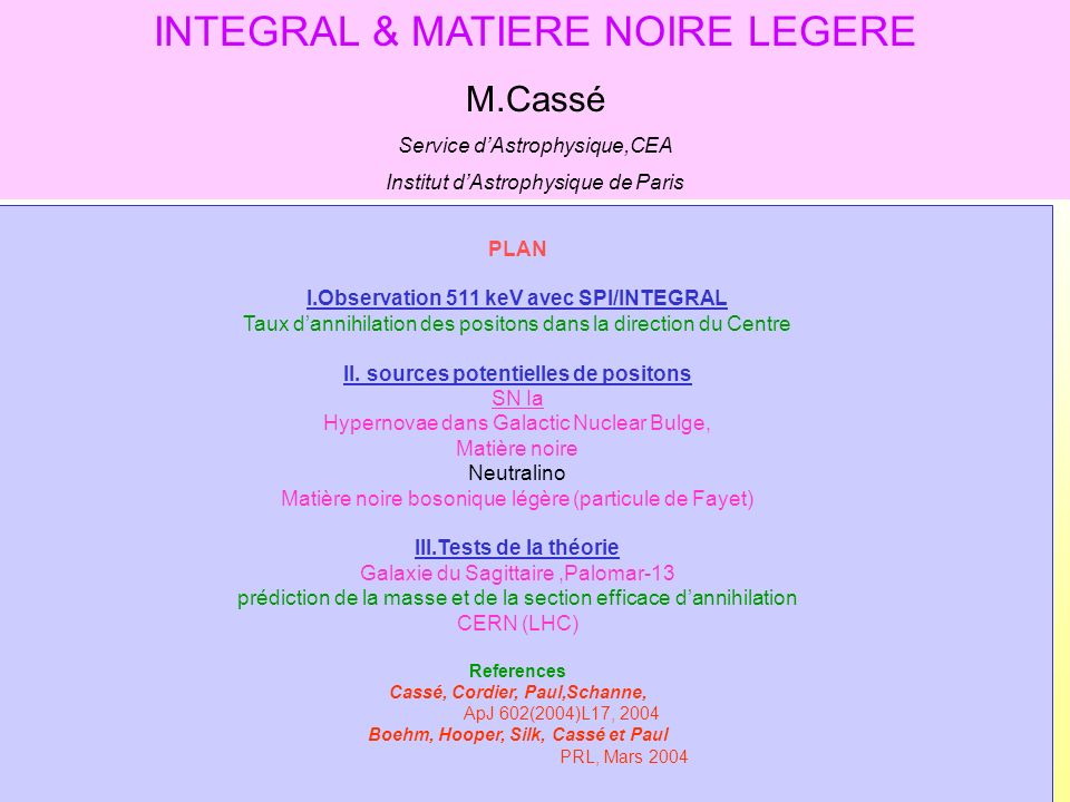INTEGRAL & MATIERE NOIRE LEGERE