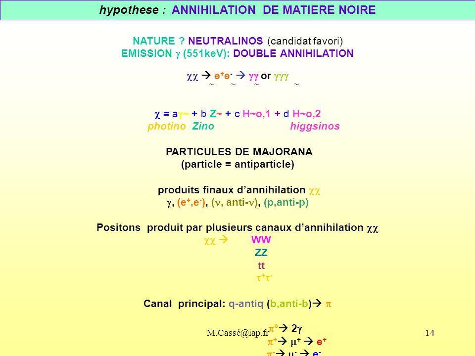 hypothese : ANNIHILATION DE MATIERE NOIRE