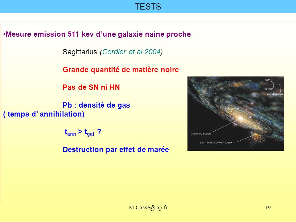 TESTS Mesure emission 511 kev d'une galaxie naine proche