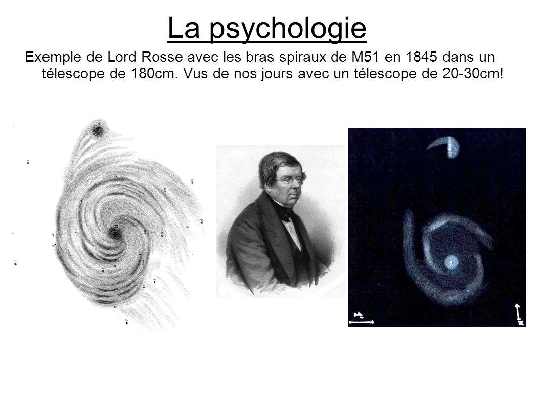 La psychologie Exemple de Lord Rosse avec les bras spiraux de M51 en 1845 dans un télescope de 180cm.