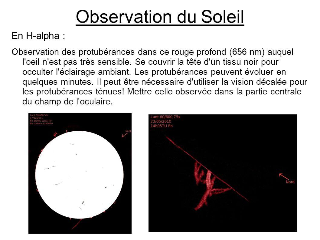 Observation du Soleil En H-alpha :