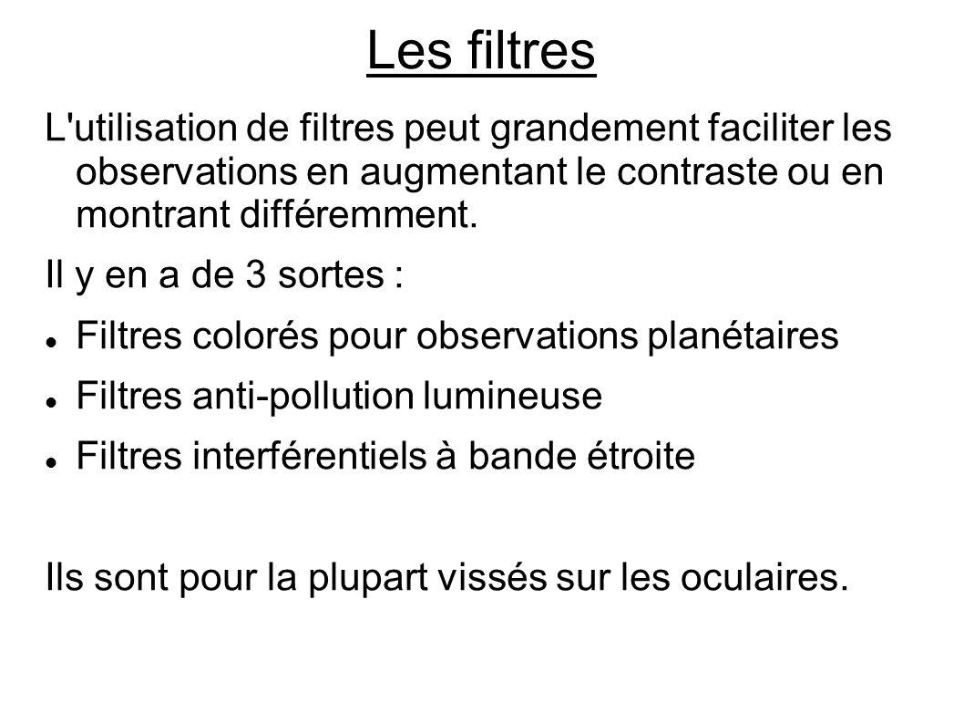Les filtres L utilisation de filtres peut grandement faciliter les observations en augmentant le contraste ou en montrant différemment.