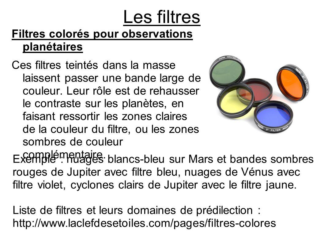 Les filtres Filtres colorés pour observations planétaires