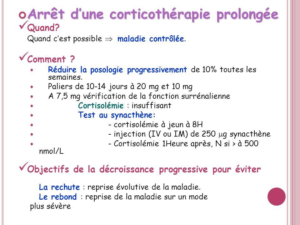 Arrêt d'une corticothérapie prolongée