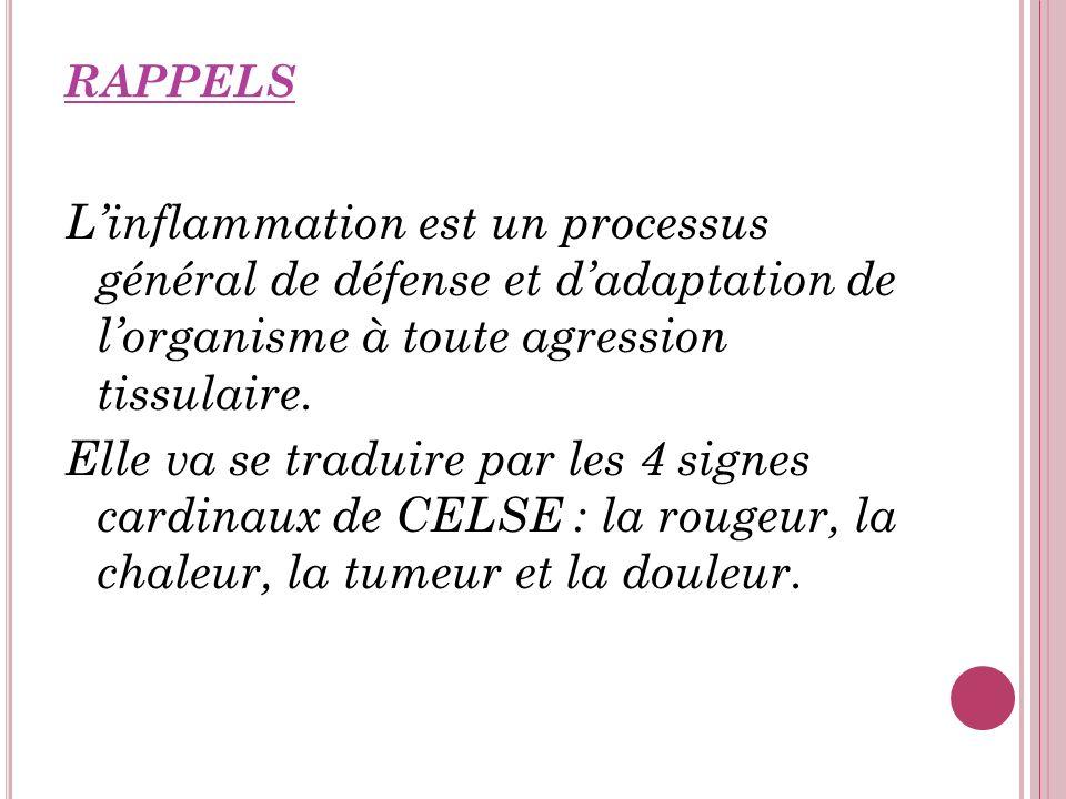 RAPPELS L'inflammation est un processus général de défense et d'adaptation de l'organisme à toute agression tissulaire.