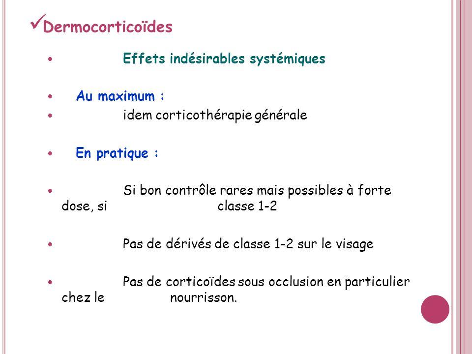 Dermocorticoïdes Effets indésirables systémiques Au maximum :
