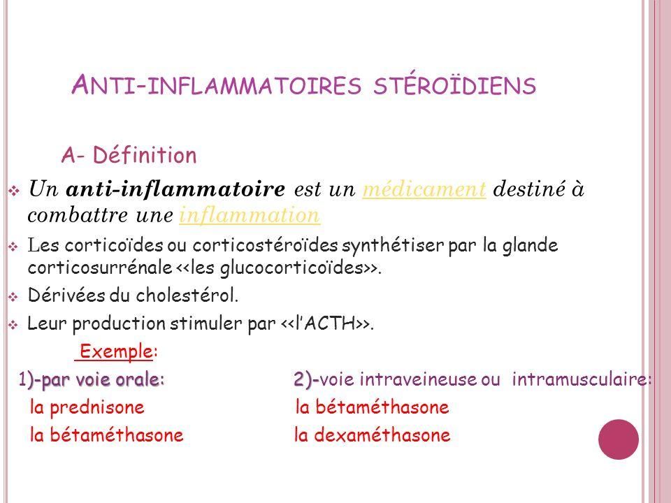 Anti-inflammatoires stéroïdiens