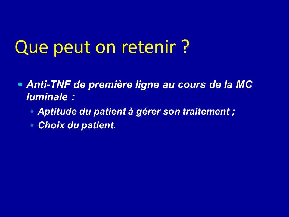 Que peut on retenir Anti-TNF de première ligne au cours de la MC luminale : Aptitude du patient à gérer son traitement ;