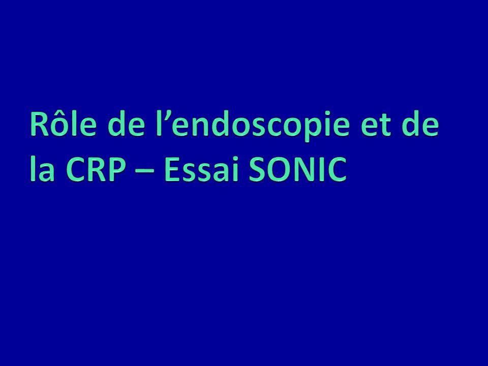 Rôle de l'endoscopie et de la CRP – Essai SONIC