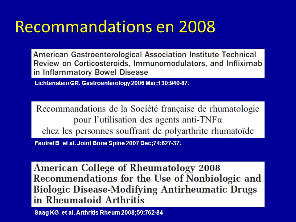 Recommandations en 2008 Lichtenstein GR. Gastroenterology 2006 Mar;130:940-87. Fautrel B et al. Joint Bone Spine 2007 Dec;74:627-37.