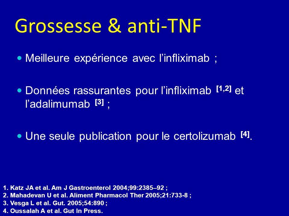 Grossesse & anti-TNF Meilleure expérience avec l'infliximab ;