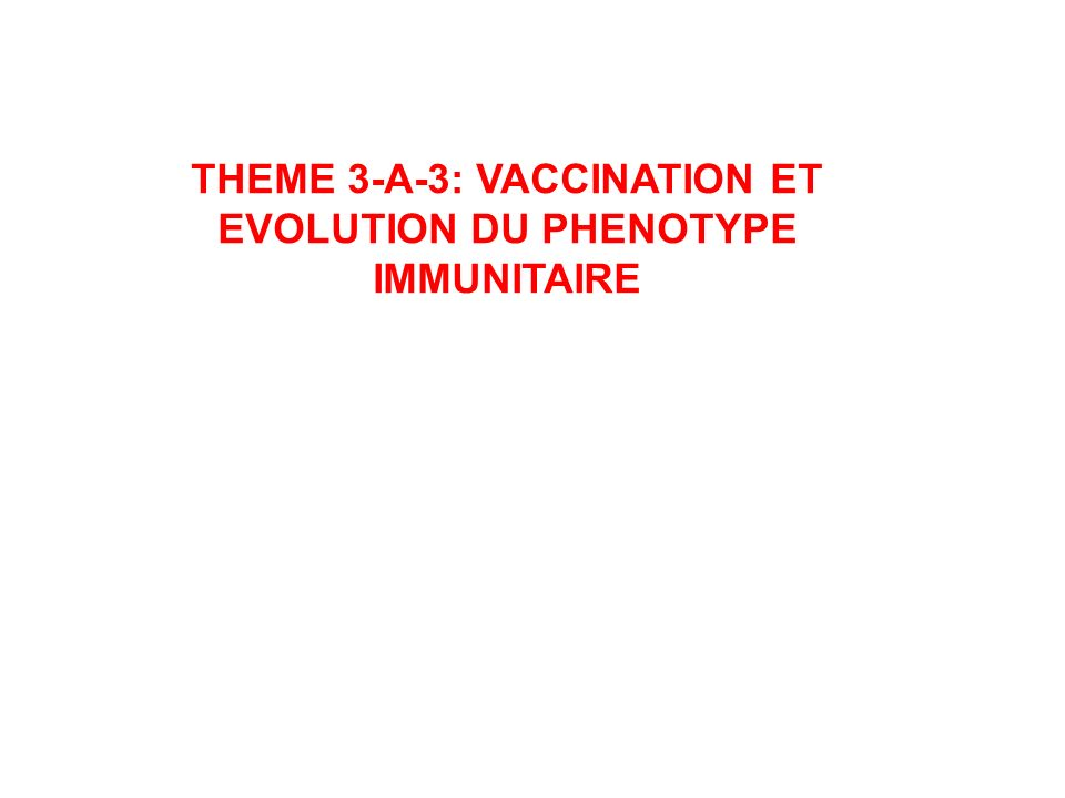 THEME 3-A-3: VACCINATION ET EVOLUTION DU PHENOTYPE IMMUNITAIRE