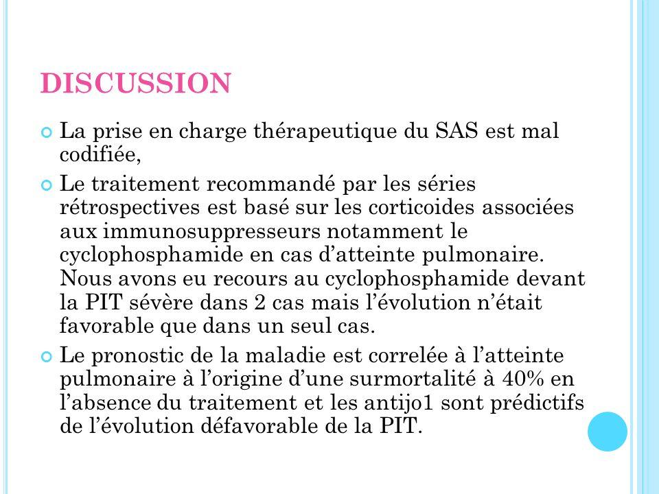 DISCUSSION La prise en charge thérapeutique du SAS est mal codifiée,