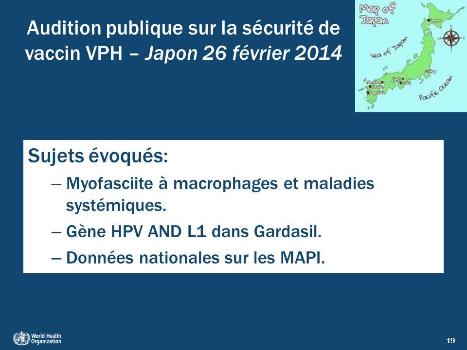 Audition publique sur la sécurité de vaccin VPH – Japon 26 février 2014