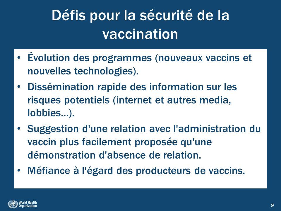 Défis pour la sécurité de la vaccination