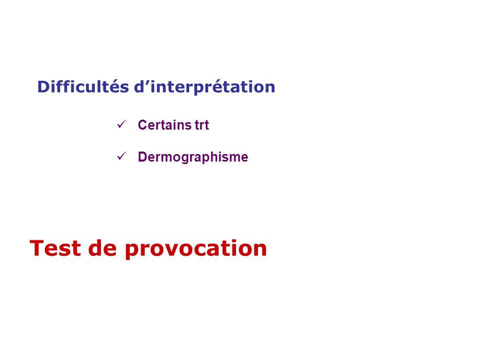 Test de provocation Difficultés d'interprétation Certains trt