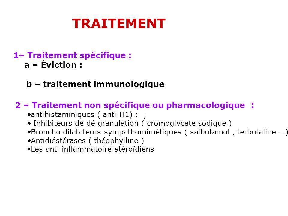 TRAITEMENT 1– Traitement spécifique : antihistaminiques ( anti H1) : ;