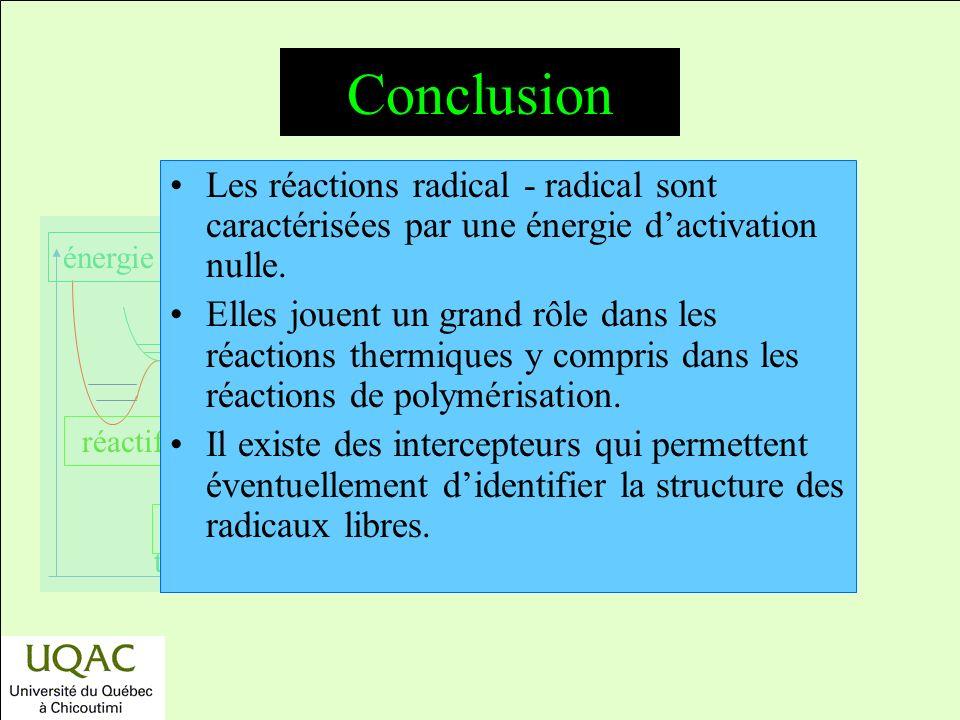 Conclusion Les réactions radical - radical sont caractérisées par une énergie d'activation nulle.