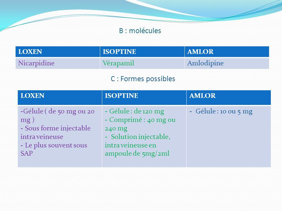 B : molécules C : Formes possibles LOXEN ISOPTINE AMLOR Nicarpidine