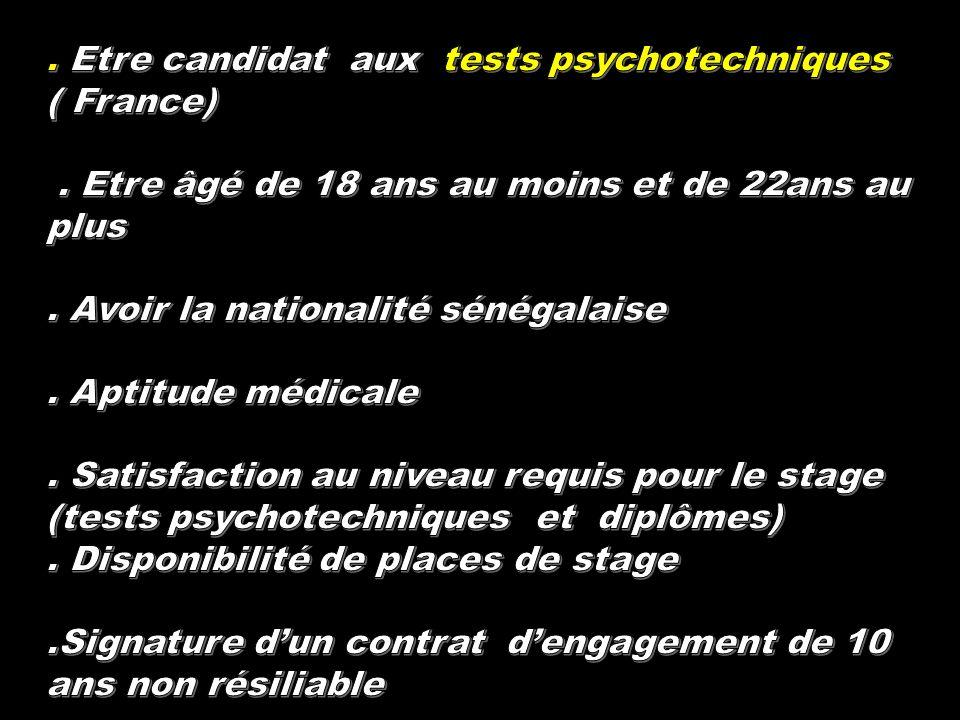 . Etre candidat aux tests psychotechniques ( France)