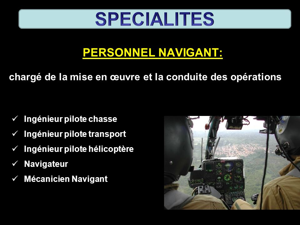 SPECIALITES PERSONNEL NAVIGANT: