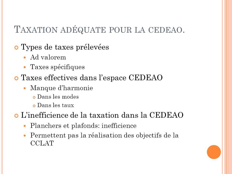 Taxation adéquate pour la cedeao.