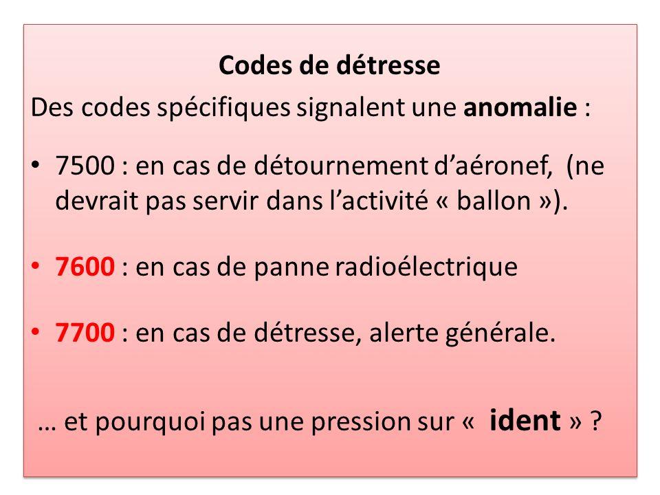 Codes de détresse Des codes spécifiques signalent une anomalie :