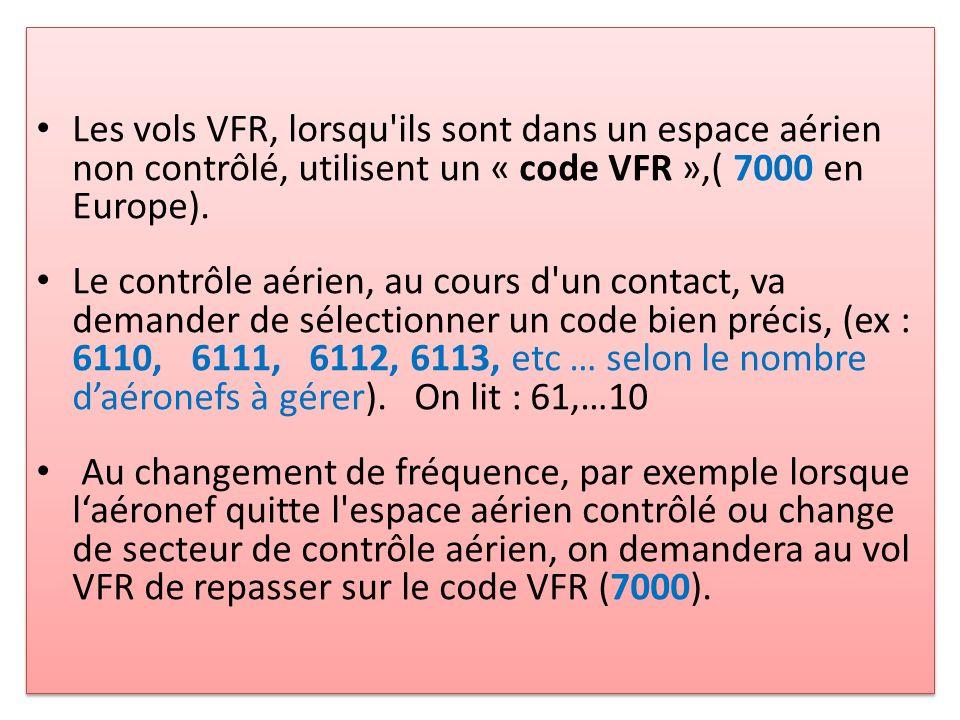 Les vols VFR, lorsqu ils sont dans un espace aérien non contrôlé, utilisent un « code VFR »,( 7000 en Europe).