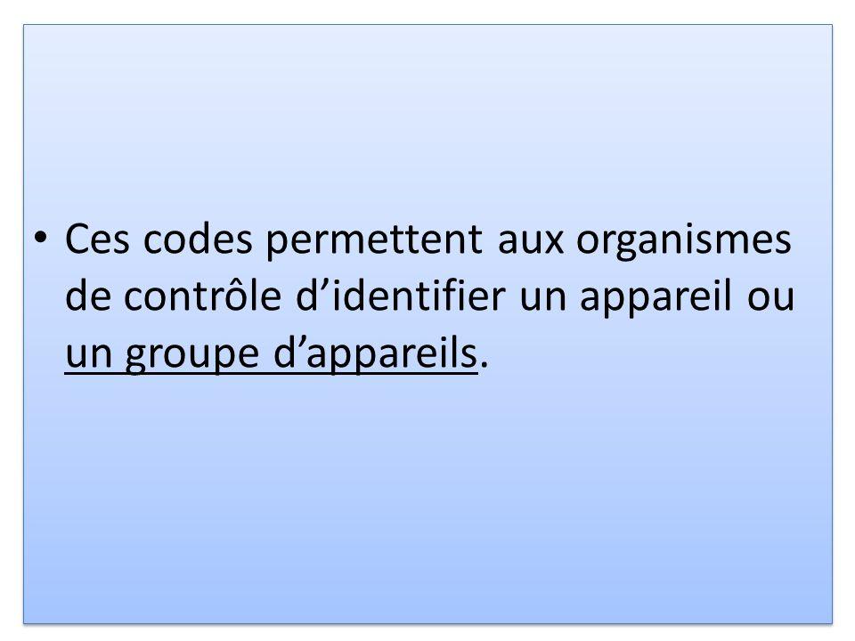 Ces codes permettent aux organismes de contrôle d'identifier un appareil ou un groupe d'appareils.