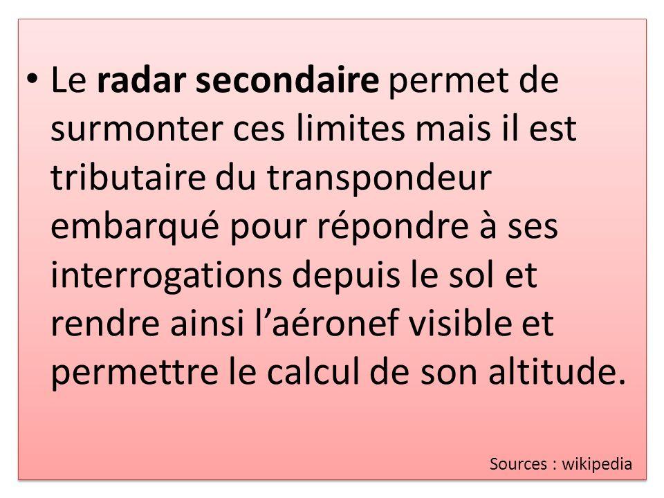 Le radar secondaire permet de surmonter ces limites mais il est tributaire du transpondeur embarqué pour répondre à ses interrogations depuis le sol et rendre ainsi l'aéronef visible et permettre le calcul de son altitude.