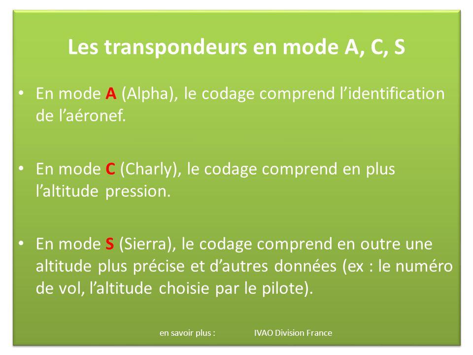 Les transpondeurs en mode A, C, S