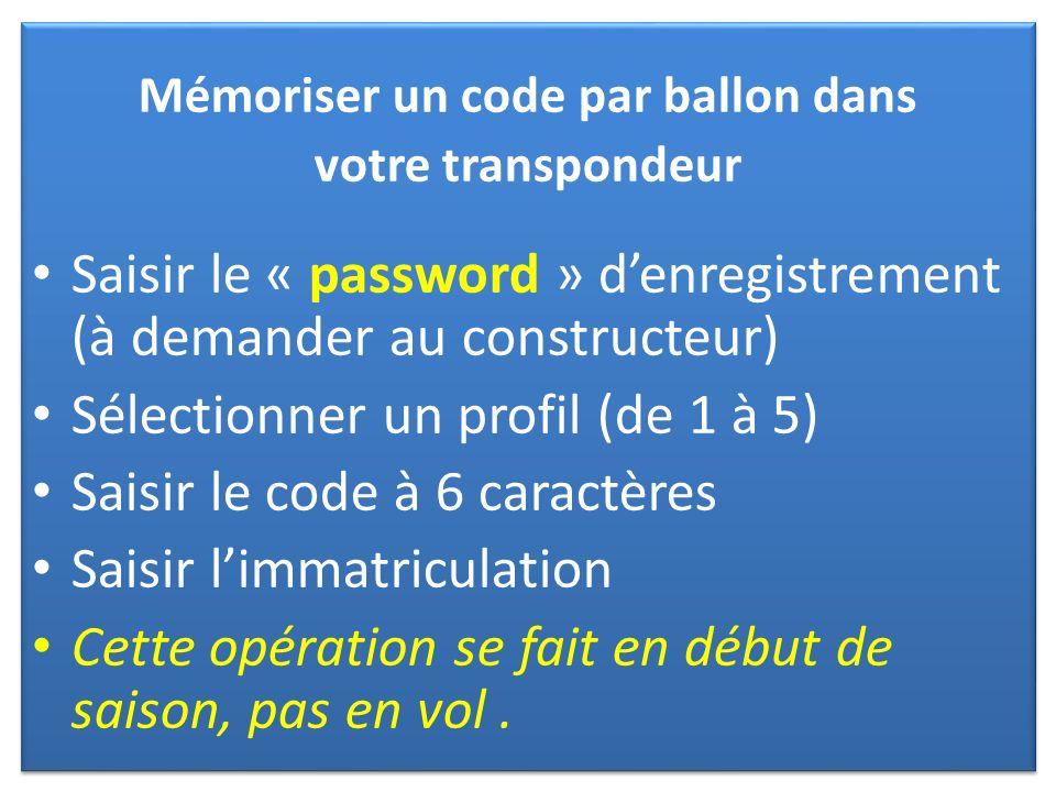 Mémoriser un code par ballon dans