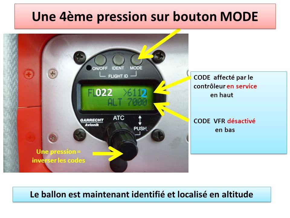 Une 4ème pression sur bouton MODE