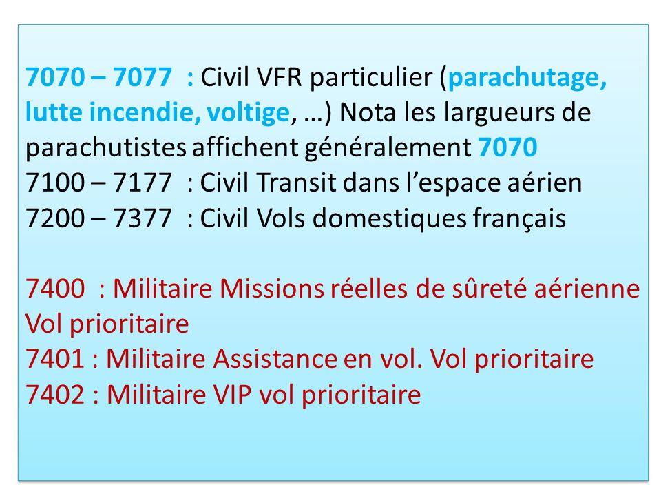 7070 – 7077 : Civil VFR particulier (parachutage, lutte incendie, voltige, …) Nota les largueurs de parachutistes affichent généralement 7070