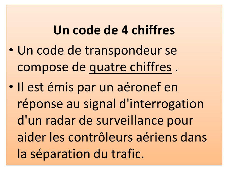 Un code de 4 chiffres Un code de transpondeur se compose de quatre chiffres .