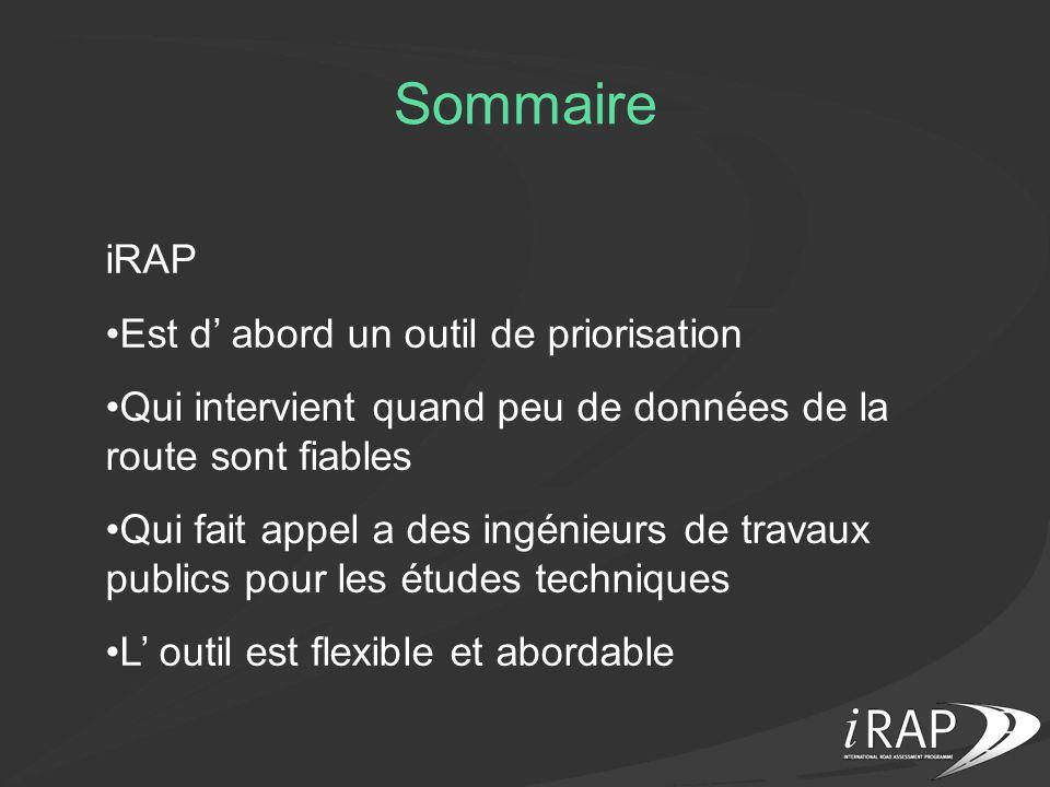 Sommaire iRAP Est d' abord un outil de priorisation