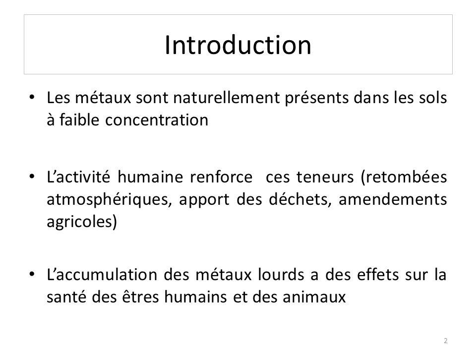 Introduction Les métaux sont naturellement présents dans les sols à faible concentration.