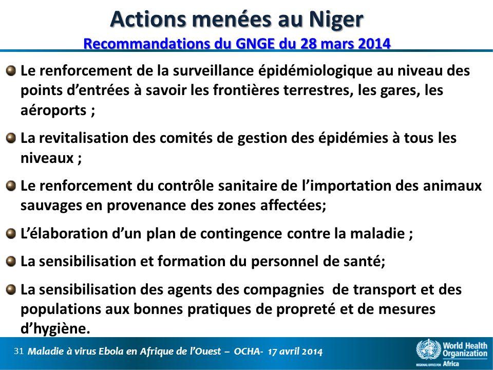 Actions menées au Niger Recommandations du GNGE du 28 mars 2014