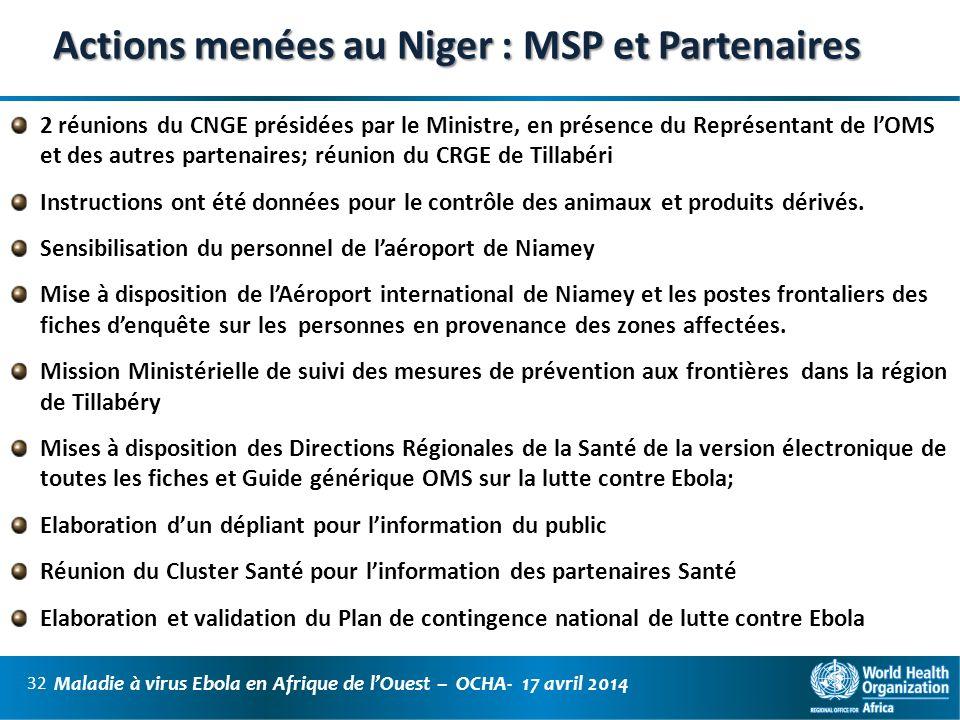 Actions menées au Niger : MSP et Partenaires