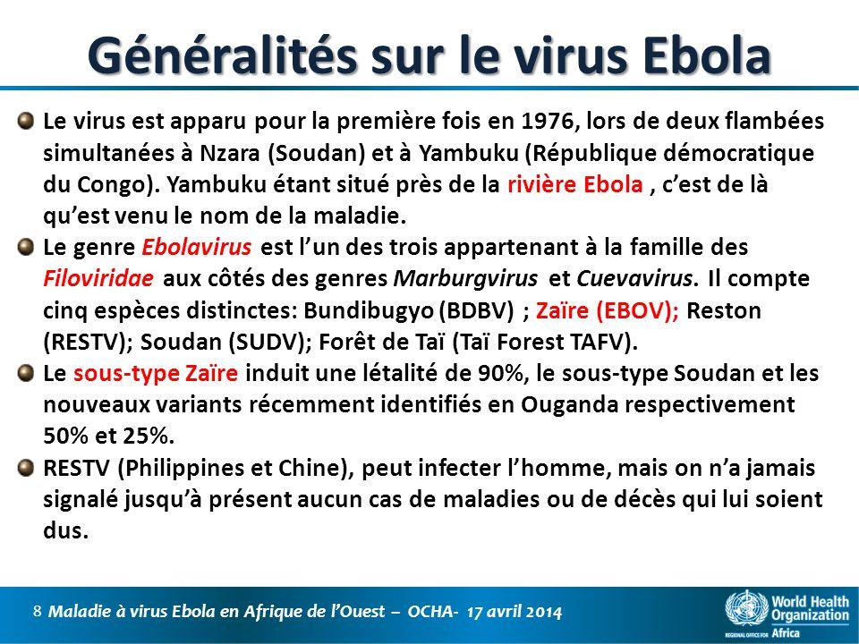Généralités sur le virus Ebola