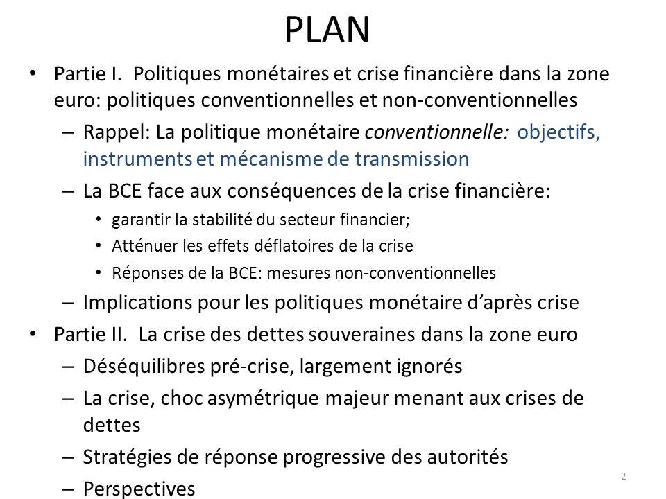 PLAN Partie I. Politiques monétaires et crise financière dans la zone euro: politiques conventionnelles et non-conventionnelles.